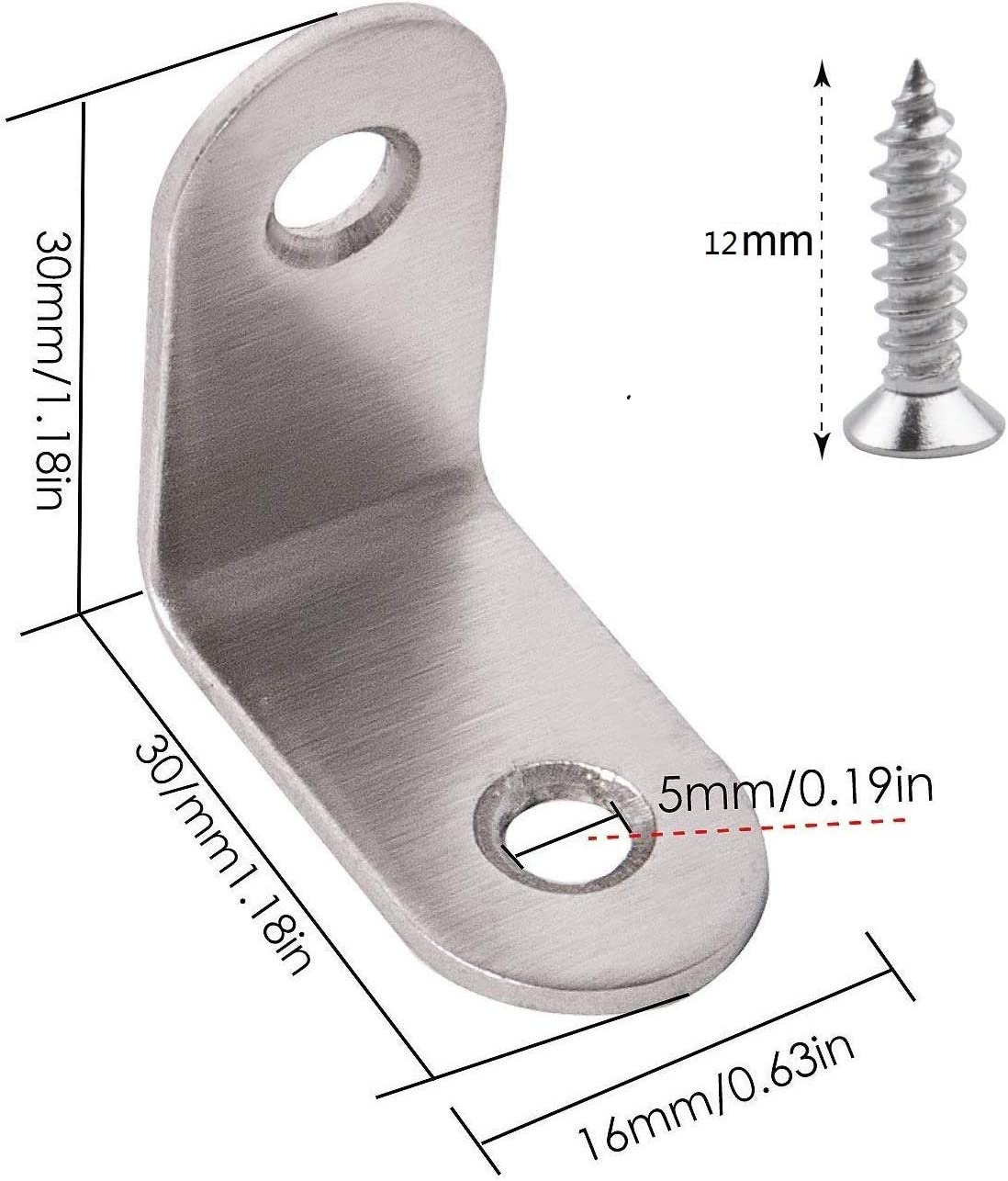 10 St/ück Winkelverbinder Edelstahl Winkel Klammern 50 50mm M/öbel Winkel Mit Schrauben f/ür Anbau Winkel Bracket