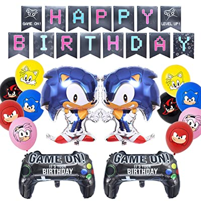 Sonic The Hedgehog Birthday Decorations Party Supplies,Sonic Balloons for Kids Birthday Party,Sonic Foil Balloons,Happy Birthday Banner,Video Game Party Balloons: Toys & Games