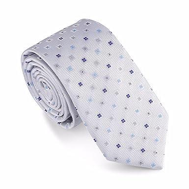 HXCMAN 6cm plateado gris caja lunares estrecha corbata Diseño ...