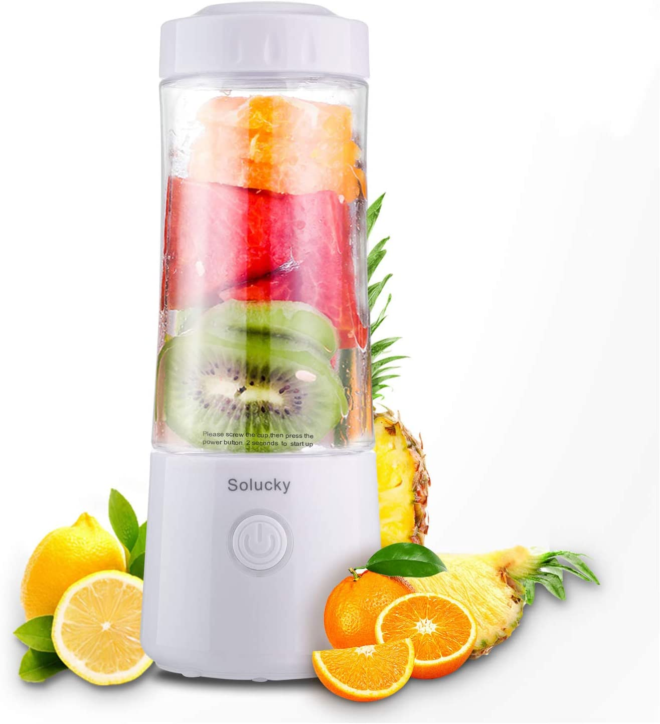 Solucky Portable Personal Blender,Usb Rechargeable Mixer for Smoothie,Mini Fruit Juicer, DIY Milk Shakes, 400ml, Six 3D Blades for Great Mixing(White)
