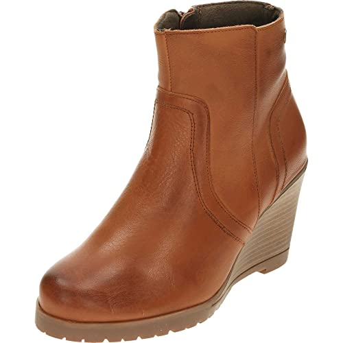 bb456c220e3 Carmela Leather Wedge Heeled Tan Ankle Boots Brown UK 7/40: Amazon ...