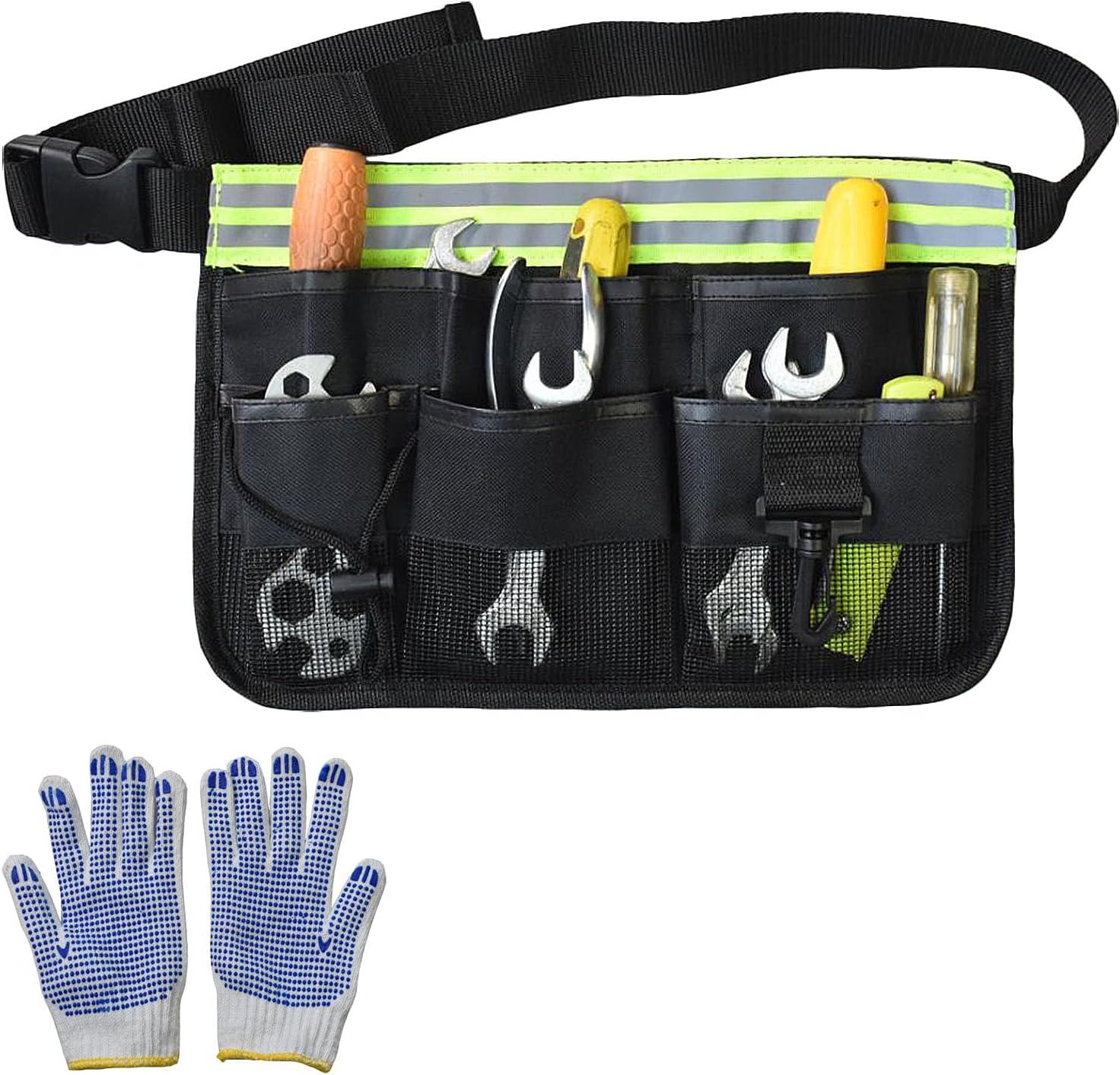 Gardening Tool Waist Bag Belt Gardening Tool Apron Organizer with 8 Pockets Hanging Pouch Tool Belt Attached Garden a Pair of Glove (Black)
