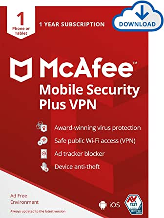 McAfee Mobile Security Plus VPN, 1 Phone or Tablet, Antivirus Software, Internet Security, 1 year subscription, 2020 [PC/Mac Download Code]