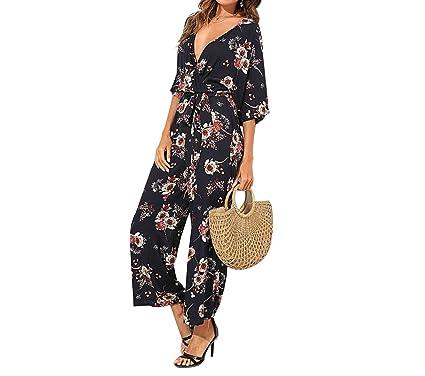 ba13f5bfb1 MASCHERANO Women Wide Leg Maxi Floral Jumpsuit Deep V Neck Batwing 3 4  Sleeve Belted