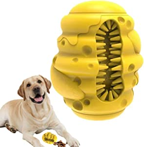 Dog Chew Toys for Aggressive - Food Dispensing IQ Training Ball Durable Natural Rubber Teeth Cleaning Toy, Interactive Dog Slow Feeding Treat Toys, for Small Medium and Large Dog