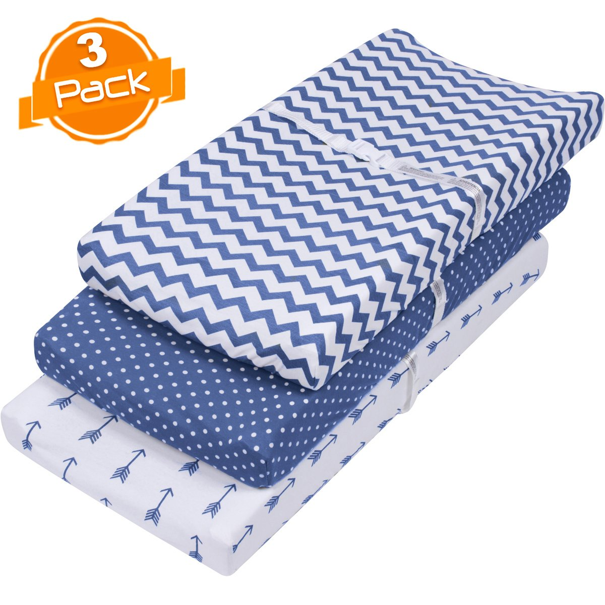 Changing Pad Cover Set | Cradle Bassinet Sheets/Change Table Covers for Boys & Girls | Super Soft 100% Jersey Knit Cotton | Navy and White | 150 GSM | 3 Pack BaeBae & Company