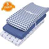 Amazon Price History for:Changing Pad Cover Set | Cradle Bassinet Sheets/Change Table Covers for Boys & Girls | Super Soft 100% Jersey Knit Cotton | Navy and White | 150 GSM | 3 Pack