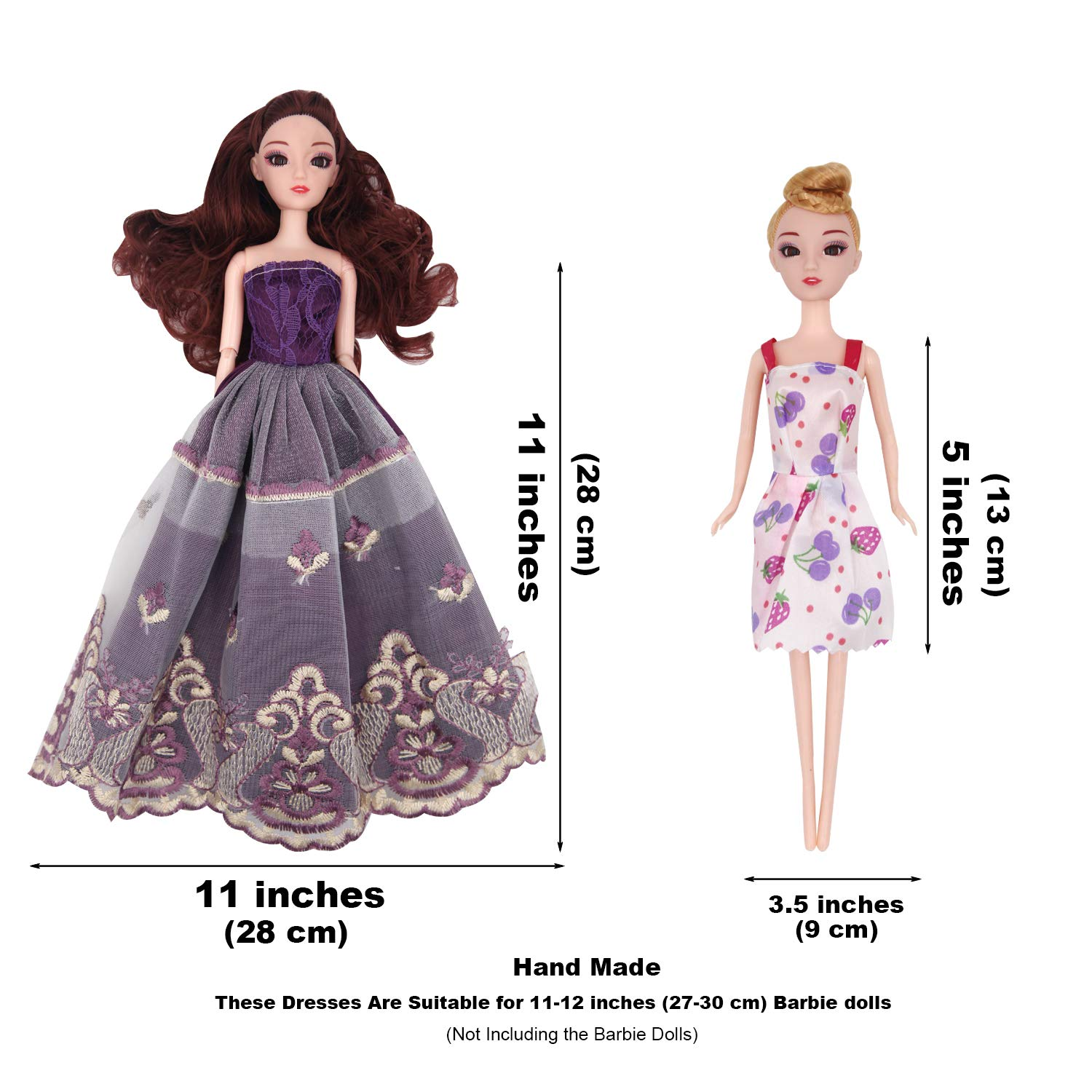 2 Handmade Doll Wedding Dresses and 108Pcs Doll Accessories for 11-12 Barbie Doll EuTengHao 123Pcs Doll Clothes and Accessories for Barbie Dolls Contain 13 Party Gown Outfits Dresses for Barbie