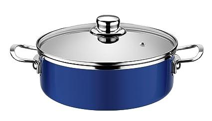 Monix Cobalto - Cacerola baja 24 cm, acero esmaltado, antiadherente, color azul