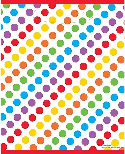 Multi Color 9 1//2 x 8 Amscan Rainbow Small Party D/écor Loot Bags