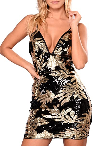 9052e1582b82 Romacci Women Sparkling Sequin Dress Sexy Plunge V Neck Sleeveless Backless  Bodycon Nightwear Cocktail Evening Party