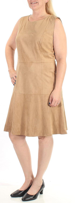 Alfani $110 Womens New 1491 Brown Zippered Faux Suede Sheath Dress 6 B+B