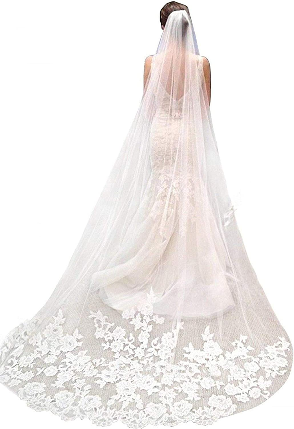 Erosebridal 2 tier Lace Applique Embroidery Edge Wedding Veils with Comb