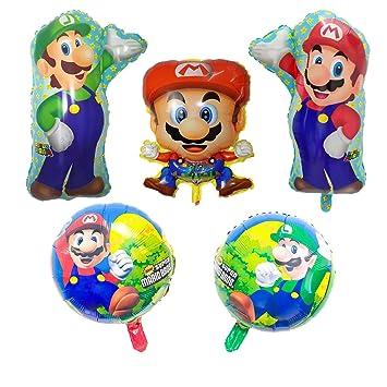 KRUCE 5 Piezas de Globos de Papel de Aluminio Super Mario ...