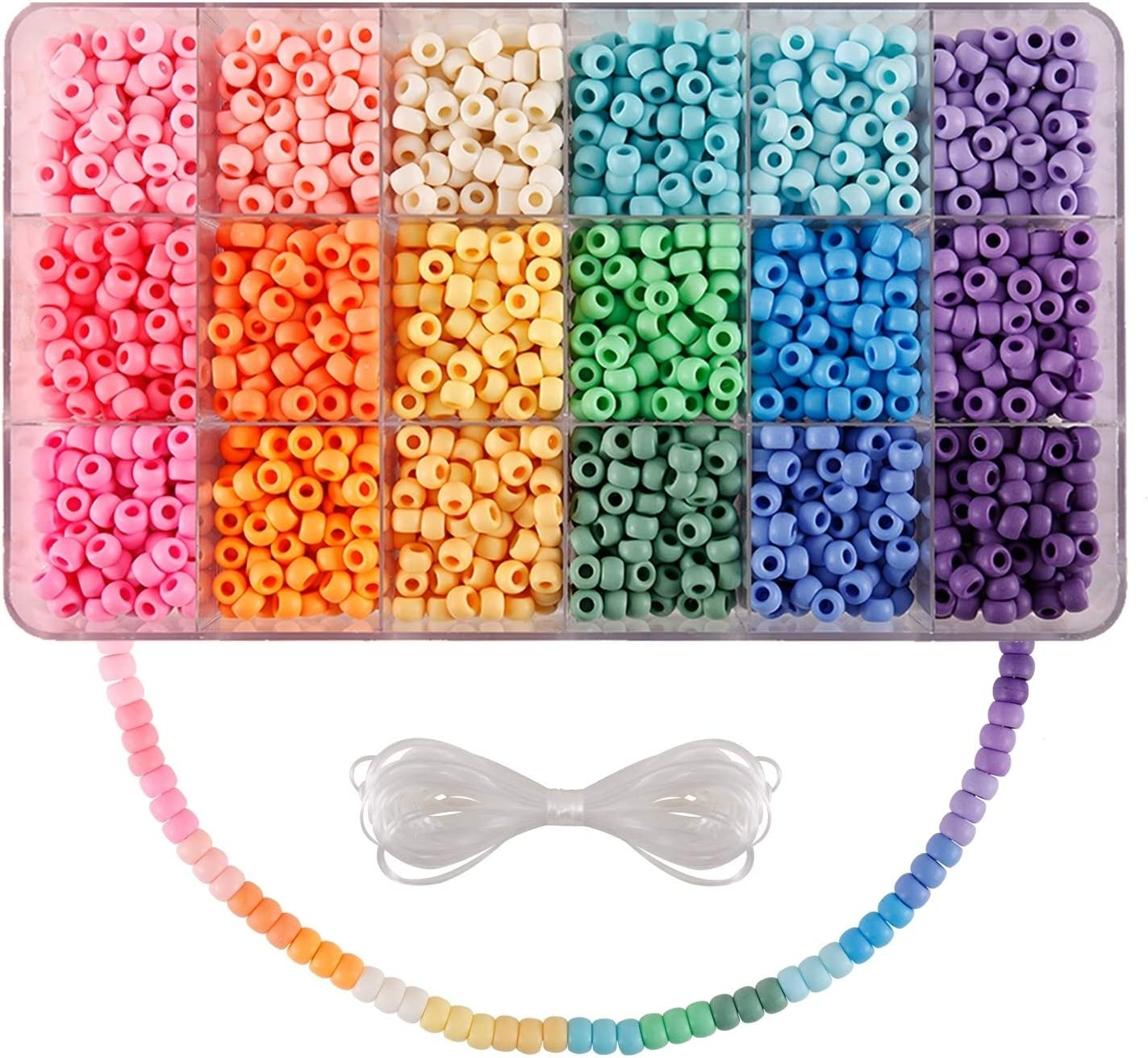 Pony Beads Opaque Multi Colored One Size Plastic Craft Pony Beads Assorted Bulk Variety Set with Storage Box for DIY Jewelry Bracelet Necklace Making
