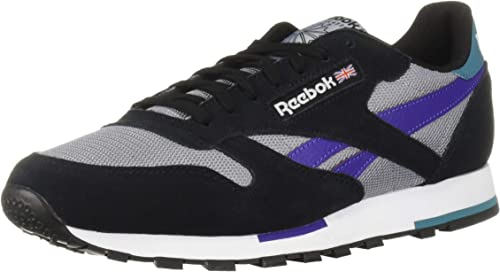 REEBOK MEN/'S CLASSIC LEATHER ESTL TRAINERS SHOES SNEAKERS BLACK GREY COMFY NEW