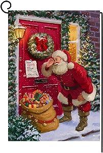 Christmas Santa Claus Garden Flag 12x18 Vertical Double Sided Farmhouse Burlap Yard Outdoor Decorations (102915)