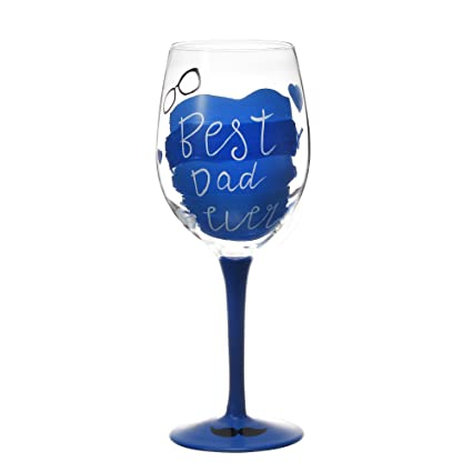 V More Hand Painted Best Dad Ever Wine Glass For Fathers Day Birthday Gift