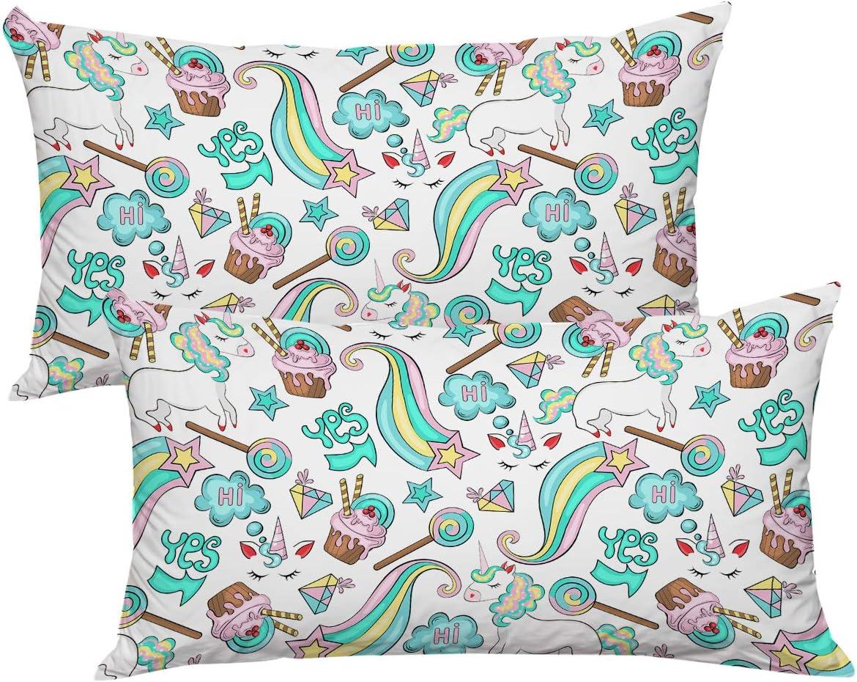 Set of 2 Standard 20 x 26 ARIGHTEX Unicorn Pillow Cover Cartoon Decorative Throw Pillowcase Unicorn and Rainbow Kids Pillowcase for Bedroom Dorm
