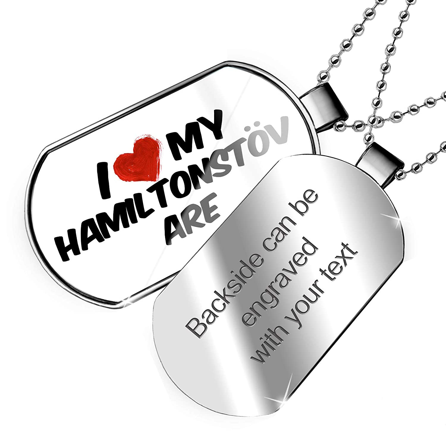 NEONBLOND Personalized Name Engraved I Love My Hamiltonst/övare Dog from Sweden Dogtag Necklace