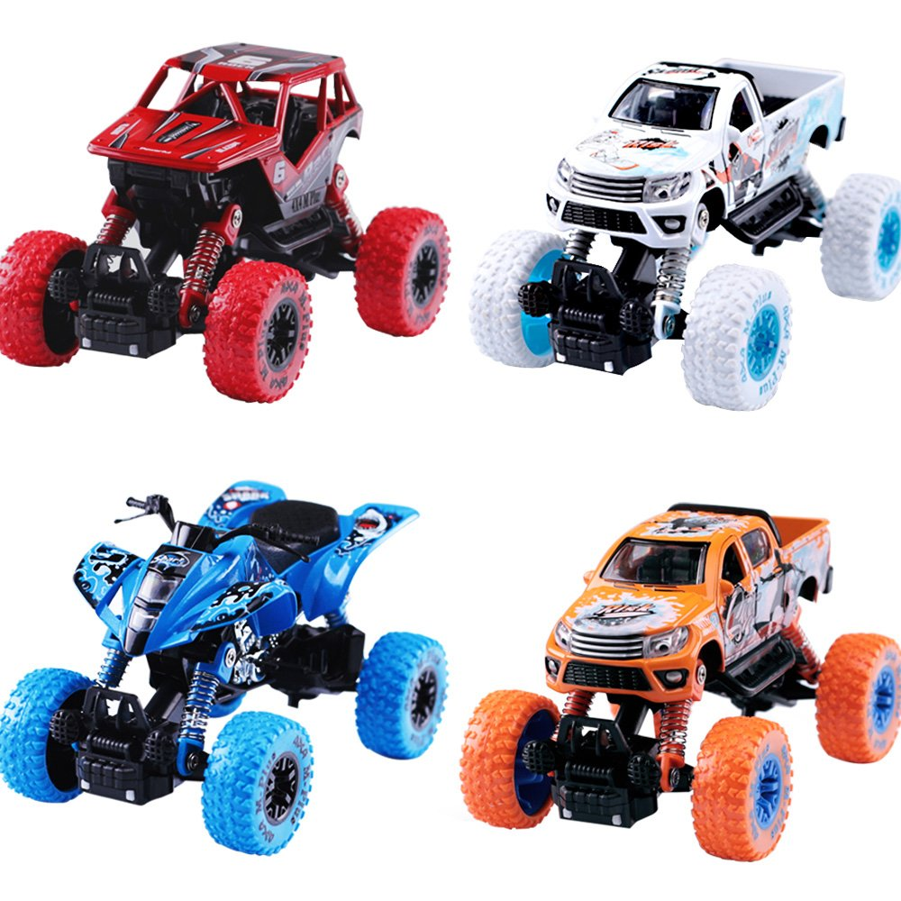 iPlay, iLearn Monster Truck Toys Set, 1:30 Large Pull Back Play Vehicles, Friction Powered, Big Wheels Cars Model, Learning Gift for Age 2, 3, 4, 5, 6, 7 Year Olds, Toddlers, Boys, Girls, Little Kids