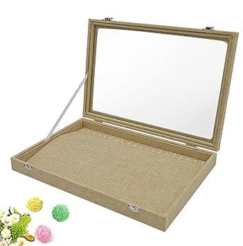 Amazoncom Wuligirl 20 Hooks Linen Necklace Jewelry Box Organizer