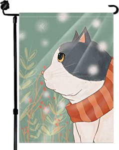 Baikey Garden Flag, Yard Flag Cute Cat Pet Lovers Snowflake Branches Flowers for Farmhouse Cat Home Outdoor Decoration 12.5 x 18 Inch