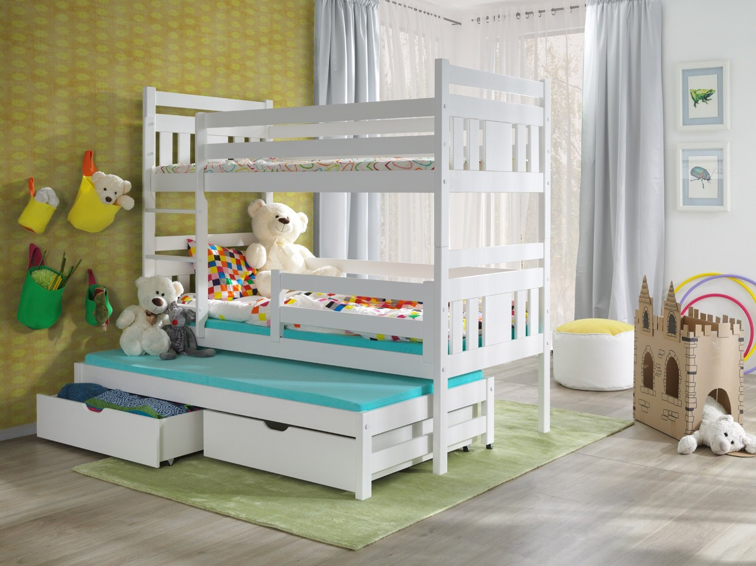 BUNK BEDS MEGGI 3FT WHITE WOODEN CHILDREN TRIPLE BUNK BEDS WITH MATTRESSES  AND STORAGE DRAWERS/ WHITE,PINE,BLUE,PINK COLOURS AVAILABLE: Amazon.co.uk:  ...