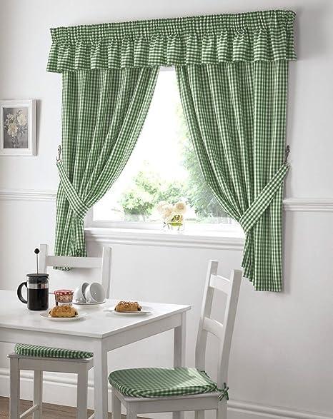 Superieur Gingham Kitchen Curtains Green 46 X 48