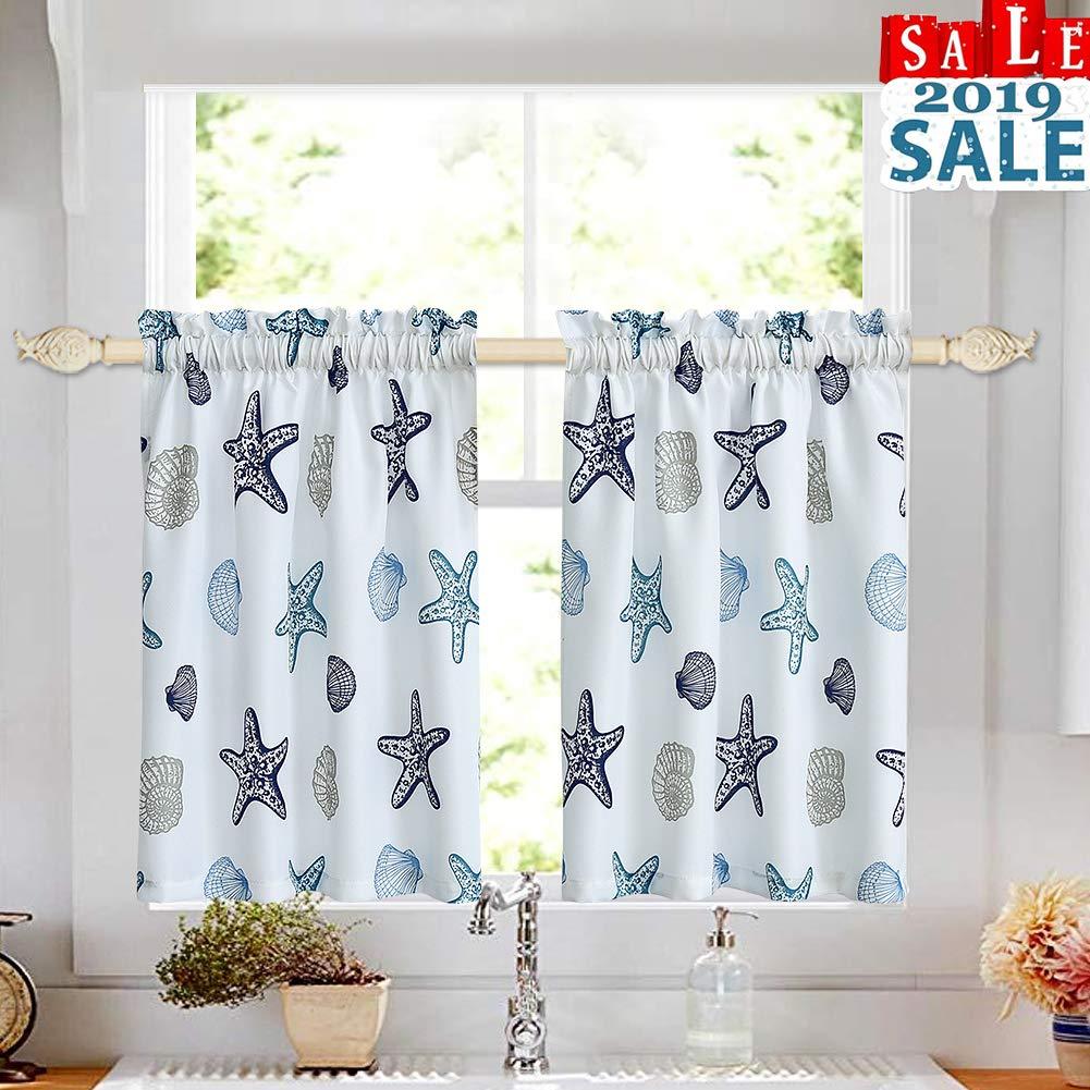 "Tier Curtains for Kitchen Windows Starfish café Curtains, Multicolor Seashell Conch Printed Half Window Curtain Set for Bathroom Rod Pocket, 27"" x 36"" x2 (1 Pair), Blue"