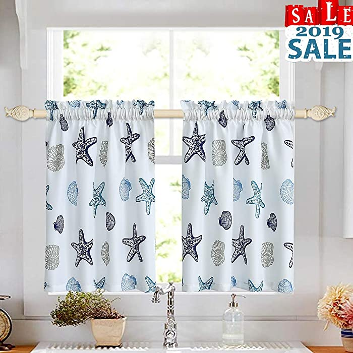 "Tier Curtains for Kitchen Windows Starfish café Curtains, Multicolor Seashell Conch Printed Half Window Curtain Set for Bathroom Rod Pocket, 27"" x 24"" x2 (1 Pair), Blue"
