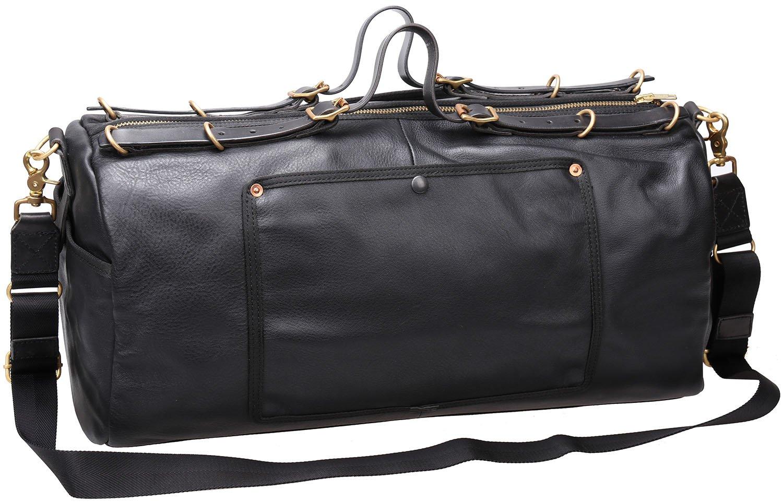 Iblue Genuine Leather Travel Weekend Bag Carry On Duffel Tote Luggage Black D04 (black)