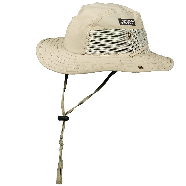 15694cd5ec45e Dorfman Pacific DPC Outdoor Design Men s 1 Piece Big Brim Bonnie Hat with  Nylon Chin Cord