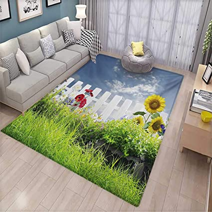 Amazon.com: Rustic Area Rugs for Bedroom Grass Foliage Field ...