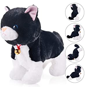 """Black Plush Cat Stuffed Animal Interactive Cat Robot Toy, Barking Meow Kitten Touch Control, Electronic Cat Pet, Cat Kitty Toy, Animated Toy Cats for Girls Baby Kids L:12"""" H:8"""" W:5"""""""