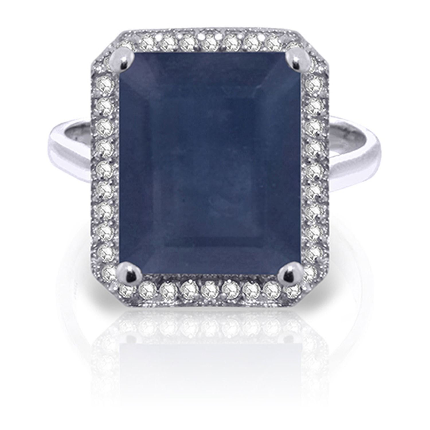 ALARRI 6.6 CTW 14K Solid White Gold Love Is Courageous Sapphire Diamond Ring With Ring Size 7
