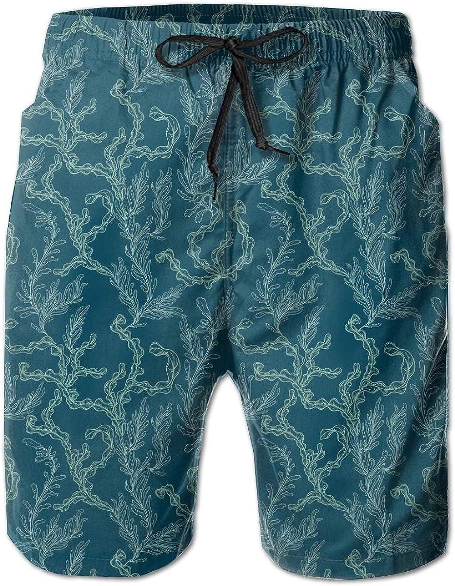 STDKNSK9 Mens Leaves and Seaweed Pattern Board Shorts Beach Shorts