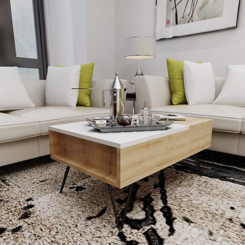 Bianco Metallo Truciolare Melaminico 80 x 50 x 38.6 cm Rovere Homemania Tavolino da caff/è