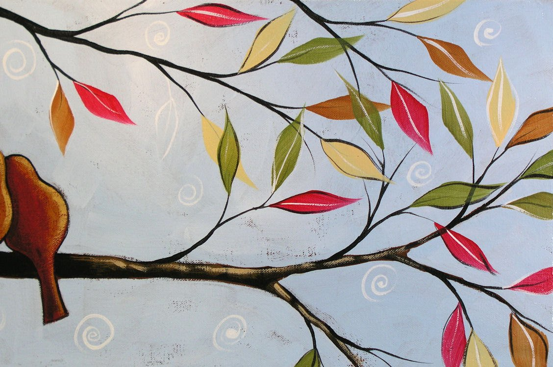 Art Painting Modern Contemporary Lovebirds in a tree, 10 x 30 .. Two In a Tree, Great gift size, wedding gift