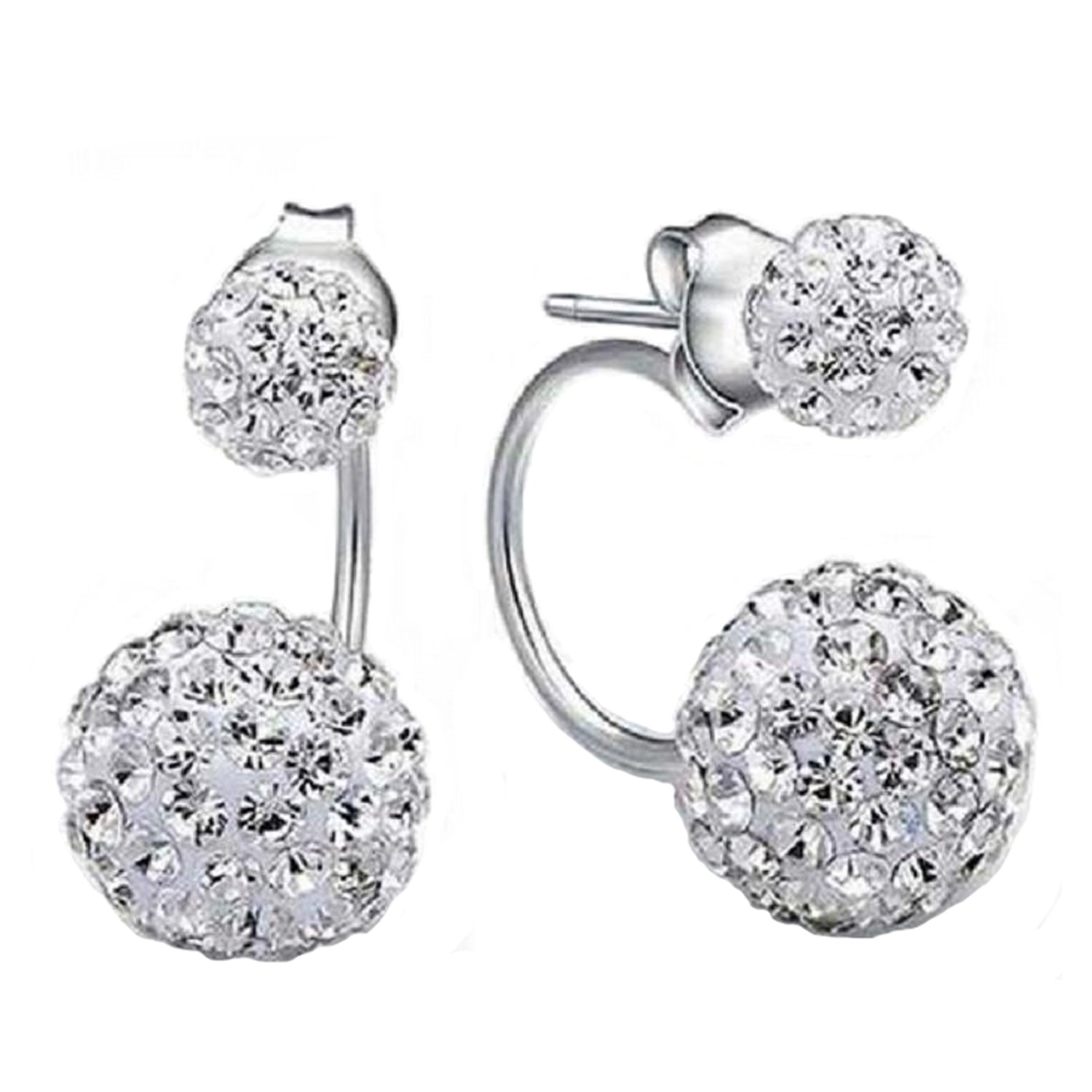Sterling Silver Earrings Sparkling Crystal Spheres Front And