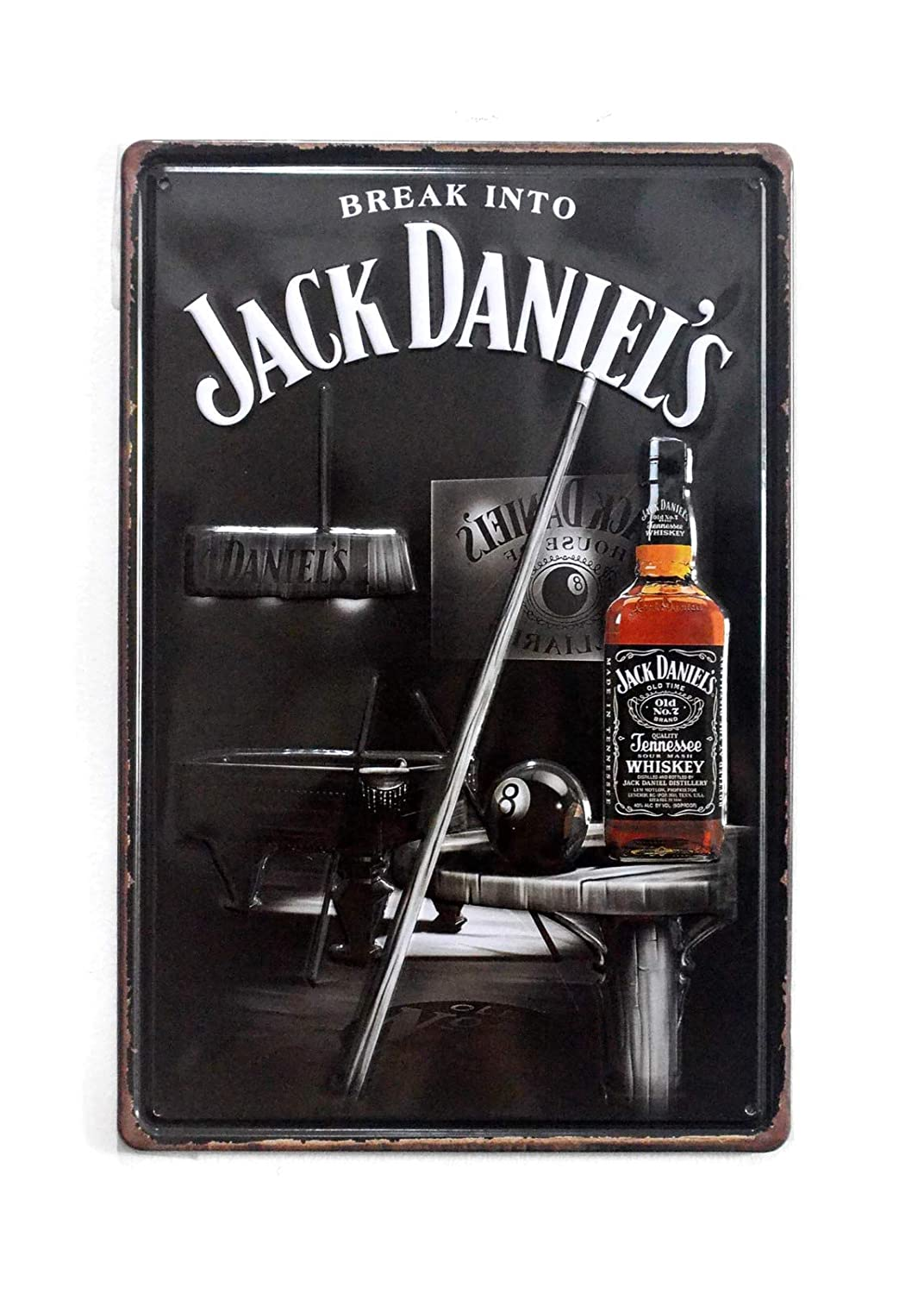 "NaCraftTH Jack Daniel's Whiskey Metal Iron Tin Sign Retro Vintage Hanging Wall Art Pub Bar Decor, 8""x12"""