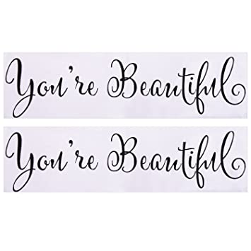 eBoot Mirror Decal Wall Sticker Vinyl Decoration You're Beautiful Stickers,  ...