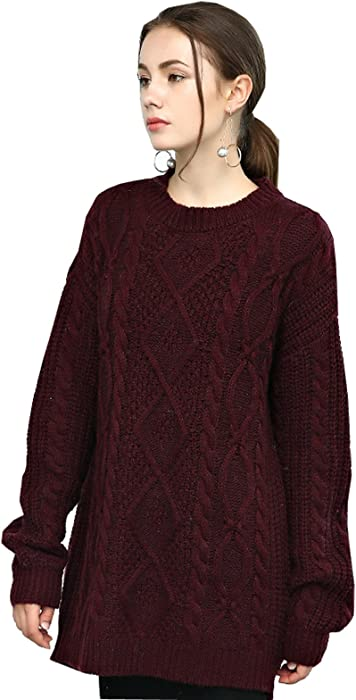 6d1ea352a645d0 Womens Pullover High Neck Chunky Cable Knit Long Sleeve Sweater Jumpers M  Burgundy at Amazon Women's Clothing store: