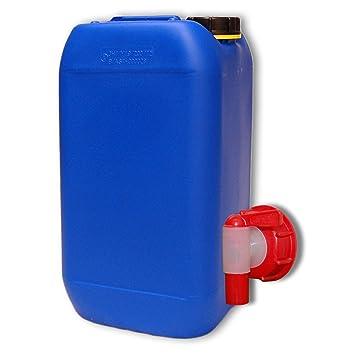 Bidón de polietileno /Jerrycan 15 L Azul HDPE + 1 grifo aeroflow DIN 61 calidad alimentaria (22246+22010): Amazon.es: Jardín