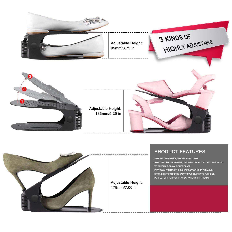 3 Step Creative Shoe Rack Space Saving Durable Shoe Holder for Shoe Storage Space Saver(Black) HOBFU 10 PACKS Adjustable Shoe Slots Organizer