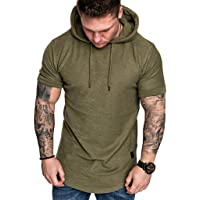 Men Short Sleeve Hoodie Top Blouse, Male Fashion Slim Fit Casual Popular Large Size T-shirt Blouse Shirt Tunic Tops