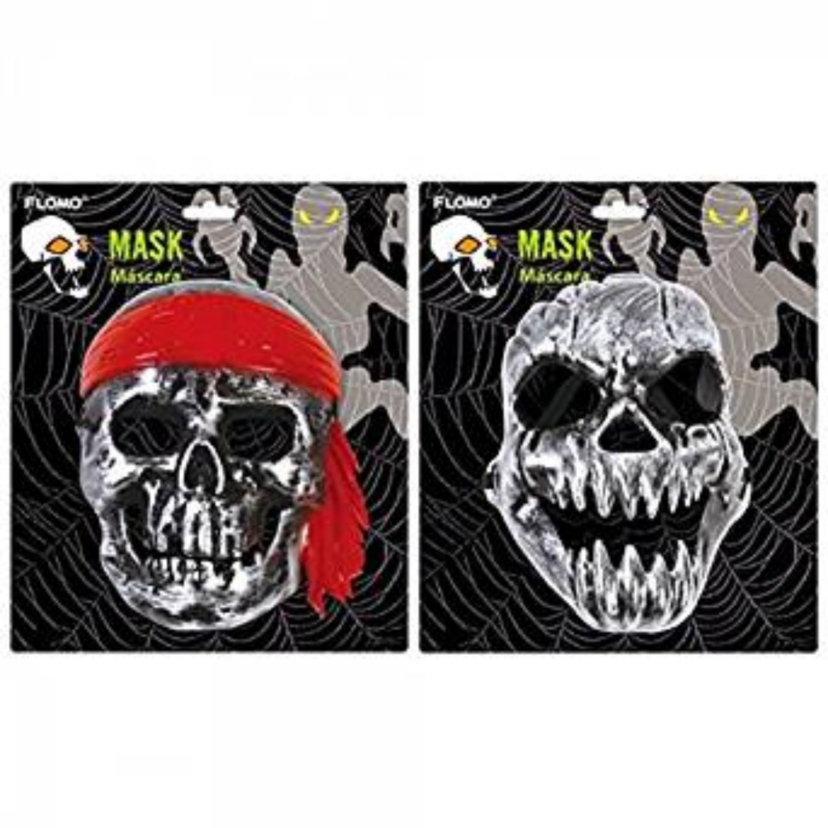 Scary Halloween Masks Set of 2 Pirate and Skull Plastic