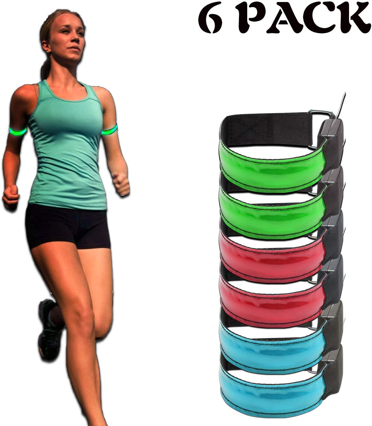 Dog Walking at Night LED Armband Outdoor Exercise /& Activities Jogging 6-Pack Glow Bracelet Safety Light-Up Sports Wristband Ankle Reflective Strips with LED Flashing Lights for Running