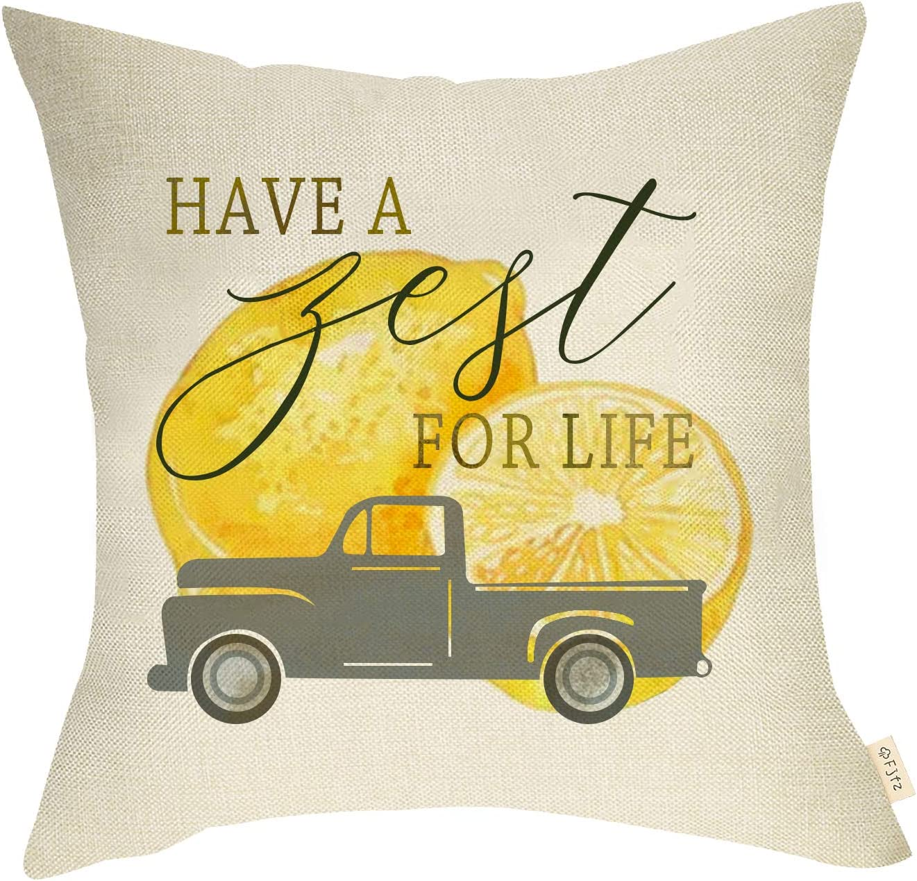 Fjfz Summer Farmhouse Decorative Throw Pillow Cover Have a Zest for Life with Lemon Vintage Truck Sign Decoration Home Décor Cotton Linen Cushion Case for Sofa Couch, 18