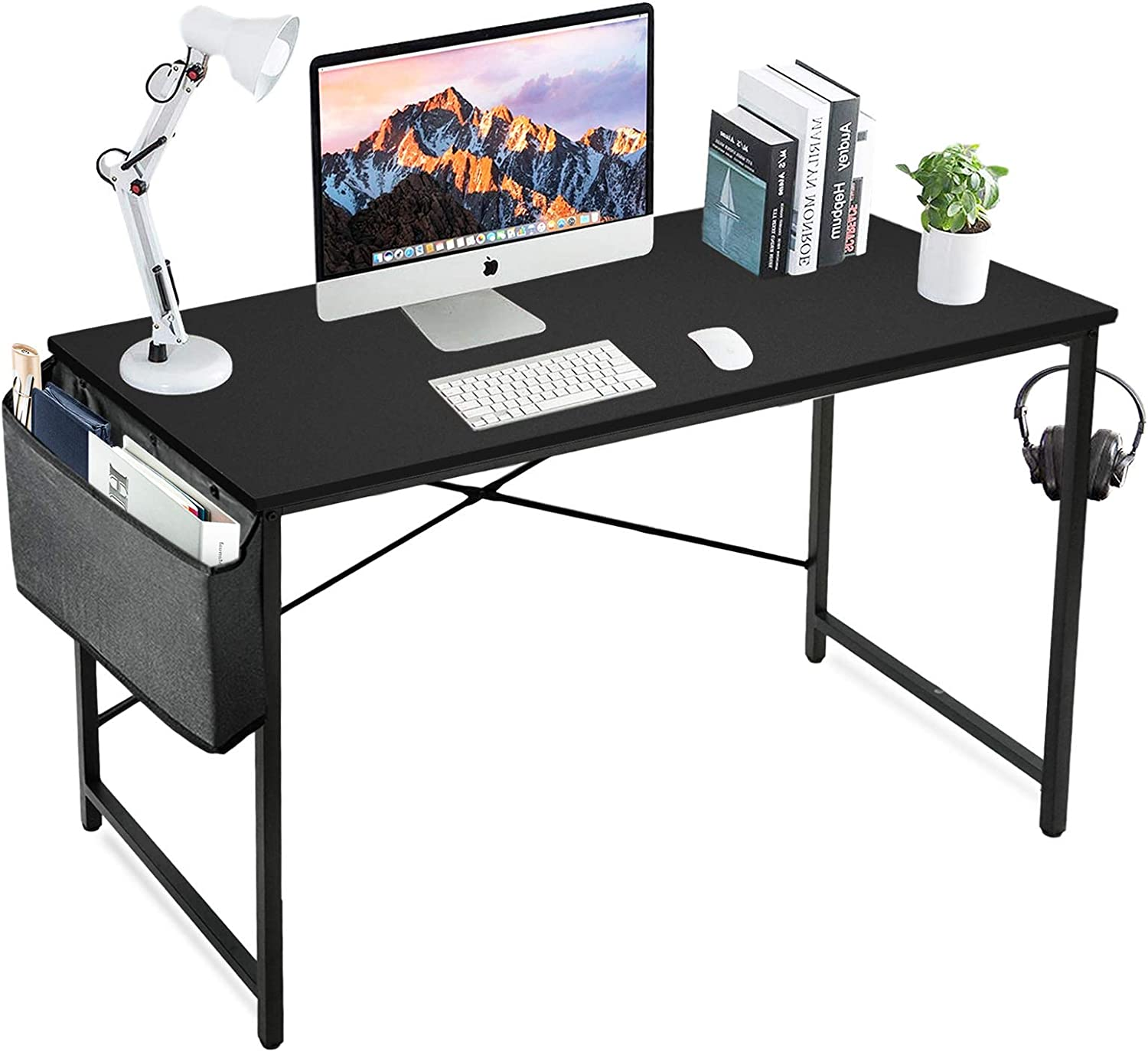 Amazon Com Lufeiya Black Computer Desk Home Office Small Study Modern Writing Table 39 Inch Simple Pc Work Des 40 In With Storage Bag Black Kitchen Dining